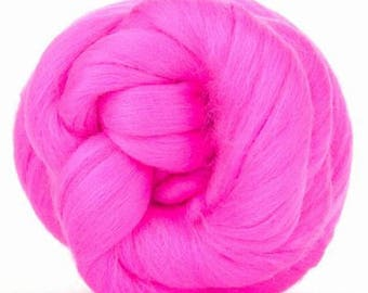 Merino Wool Combed Top/Roving by the Ounce or by the Pound - Hot Pink