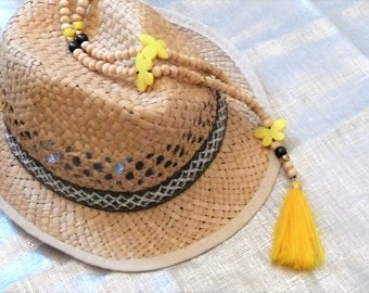 Long necklace Yellow Butterfly/cross/natural wood beads / tassel boho Gypsy
