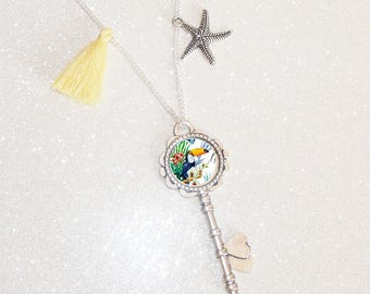 Necklace long silver flower and cabochon Toucan tropical tassel star fish