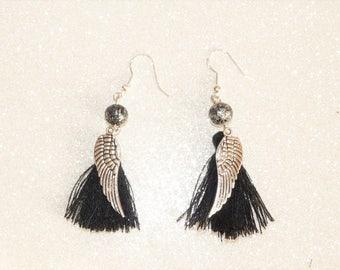 Earrings ' Silver hoop earrings 925 sterling silver wing and black tassel