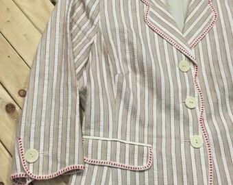 Pinstriped Waist Length Blazer