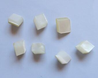 """Seven Antique """"False Box"""" Pearl Buttons"""