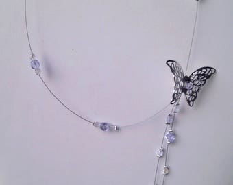 Necklace for wedding or evening flight of the Crystal butterfly and purple