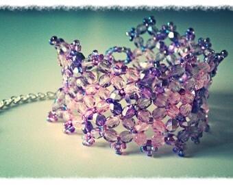 Custom order jocelyne45500 _ Cuff Bracelet in pink, purple and violet - Crystal Bohemian crystal