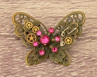 Pink Steampunk Butterfly Brooch, Steampunk Brooch, Steampunk Pin, Butterfly Pin, Butterfly Jewellery, Steampunk Jewellery