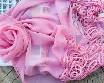 Accessories Silk chiffon scarf with lace