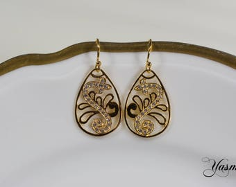 Gold-plated ornaments with zirconia - gold-plated/rose-gilt sterling