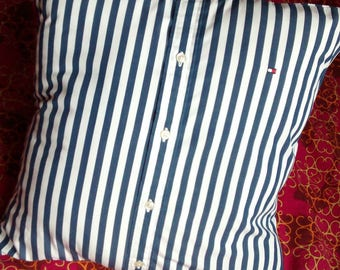 N2 Upcycled man's shirt pillow cover