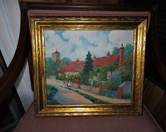 Vintage Seager Painting, Original Painting, Signed Painting, Landscape, Oil on Canvas, Country Cottage, Home Decor, Gift for Her, Gold Frame
