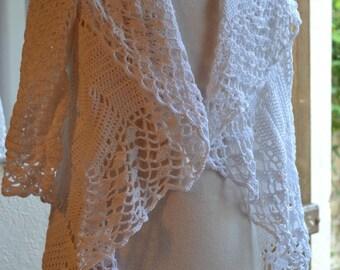 round crochet cotton lace vest