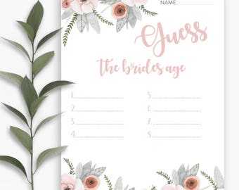 Guess the Bride's Age, Bridal Shower Games, Bridal Shower, Bridal Shower Game, Wedding Shower, Floral Bridal Shower, Destination Wedding
