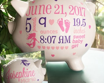Baby piggy bank etsy personalized piggy bank custom baby piggy bank mermaid baby girl toddler girl gift negle Images