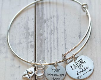 Raising My Tribe Personalized Adjustable Wire Bangle Bracelet