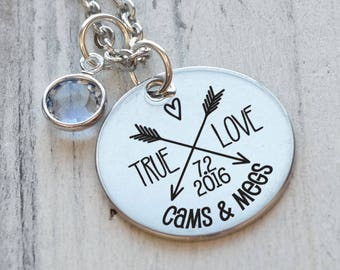 True Love Arrows Anniversary Personalized Necklace - Engraved