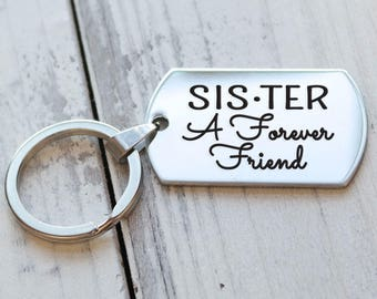 Sister A Forever Friend Personalized Key Chain - Engraved