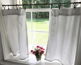 Classic ticking Stripe Cafe curtains. black white stripe valance. Light Pink white stripe grey white valance Curtain Valance. Window Valance