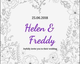 Personalised Wedding invites 21 x 10.5 cm vintage invite, floral invite