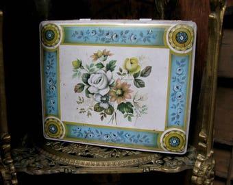 Vintage Tin, Floral Tin, Collectible Tin, Decorative Tin, Mid Century , 1960s Tin, Biscuit Tin, Hinged Tin, Vintage Florals, Rectangular