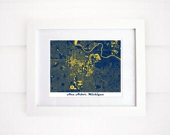 University of Michigan Map Art Print, Ann Arbor, Michigan, Go Blue!