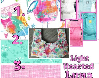 Ergo360 or Lillebaby 3-PC sets.  Headrest Bib/Straight Pads.  Curved Pads and personalize available. Lighted Hearted LUNA 2 reverse fabrics.