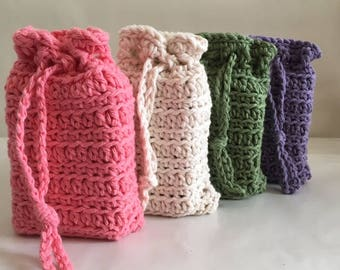 Crochet Soap Savers Cotton Soap Sack Colors in Pink Purple Green Off White Listing Includes 1 Soap Saver Made to Order