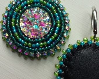 green and blue sparkle earrings