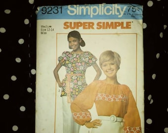 Simplicity vintage blouse pattern womens 12/14