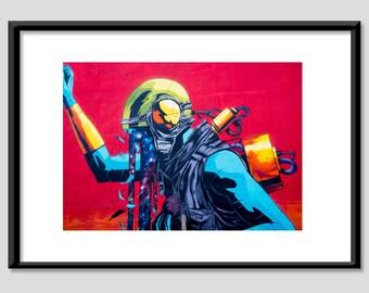 Graffiti astronaut soldier fine art print poster matt 60 x 90