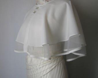 Bridal Cape, Wedding Cape, White Bridal Cape, White Wedding Capelet, Wedding Dress Cover Up, Dress Cover Up, Wedding Shawl, Bridal Cover Up