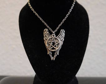 Pentagram necklace gothic wings