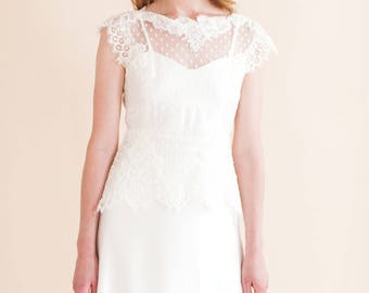 EVERLEY TOP a long-line overlay top made from ivory spot tue and hand stitched lace appliques and trim