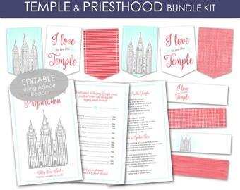 Temple and Priesthood Preparation Bundle Kit - LDS Primary 2018 PRINTABLE Editable Program Banner Water Bottle Labels Annual Presentation