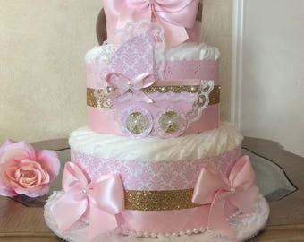 Pink and gold diaper cake/Baby girl diaper cake/Pink and gold baby shower centerpiece