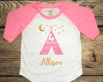 Fourth Birthday Shirt Custom Toddler Girl Pink Glitter Birthday Outfit Little Girls Name Sparkle Top Four Years Old 4th Birthday Shirt Tee