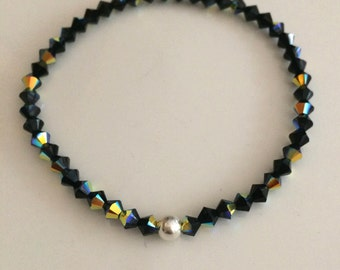 Black Swarovski crystal stretch bracelet with Sterling Silver or Gold Fill accent bead