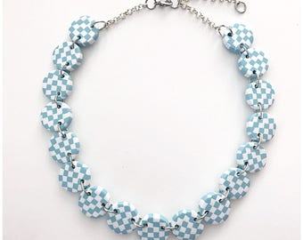 Blue checker board circle necklace - handmade with polymer clay