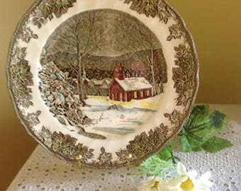 """Johnson Brothers Dinner Plate, Friendly Village, """"The School House"""", 8 Available"""
