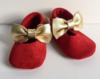 Size 3- Red Suede/Gold Bow Mary-Jane (Ready to ship)