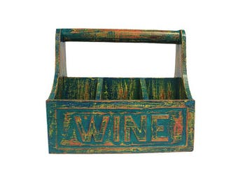 Bottle holder, Bottle box, bottle stand, hand-carved, hand-painted