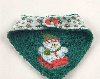 Reversible Christmas Snowman Sledding Bandana Drool Bib