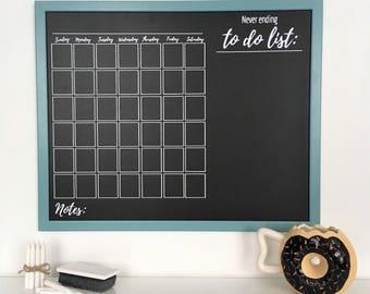"""Chalkboard Monthly Planner   2018 Planner   Chalk-Marker Compatible   Framed Chalkboard Planner   2018 Monthly Planner   21"""" x 17"""""""