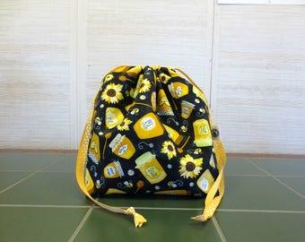 Jars of Honey - Large Drawstring, Divided Knitting Project Bag, Crochet Bag, Sweater Project Bag, Knitting Organizer, Bee
