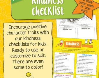 Editable Kindness Checklists for Kids - Customize and Color