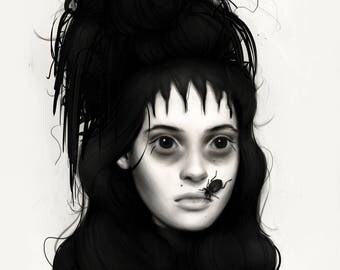 "Fine Art Print - ""Lydia Deetz"" - Dark Wall Art"