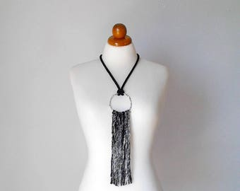 Tassel necklace fringe necklace silk tassel necklace tassel jewelry pendant fringe necklace pendant tassel necklace black tassel necklace