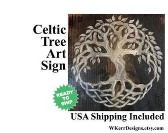 Celtic Tree of Life Wooden Plaque, Celtic Tree Knot, Celtic Knot, Tree of Life Sign, Celtic Sign, Celtic Home Decor, Irish Home Decor