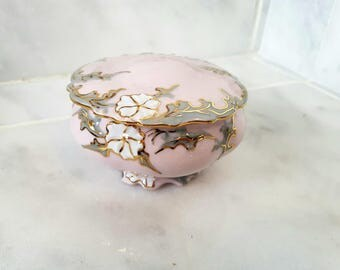 Czech Byzant Rose Porcelain Sugar Bowl, Vanity Box, Trinket Box, Pin Dish, Pink Porcelain, Art Nouveau