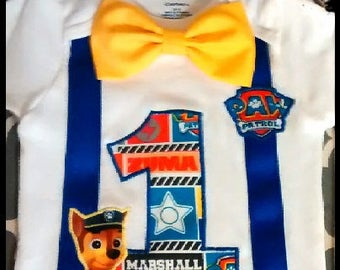Boy Paw Patrol Birthday SHIRT or ONESIE Only...Detachable BowTie, number, Faux suspenders 1st 2nd 3rd 4th 5th 6th Party Chase Rubble Marshal