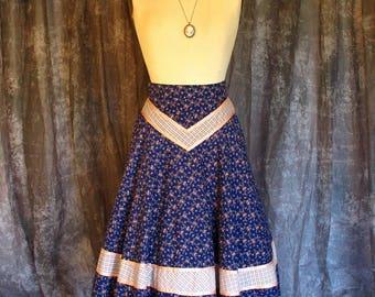 Vintage 1970s Gunne Sax Jessica's Gunnies Blue Calico Skirt Pink Trim Festival Prairie Boho Woodstock Hippie Skirt S