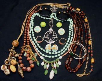 Vintage jewelry lot-asian inspired jewelry-oriental jewelry collection-buddha necklace - vintage jade jewelry-japanese jewelry bundle -